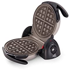 Bake extra thick Belgian waffles in minutes. A unique rotating design lets you flip this waffle maker 180 degrees to evenly spread batter for delicious waffles that are crispy outside and tender inside. An extra-thick nonstick grid makes a 7-inch dia...