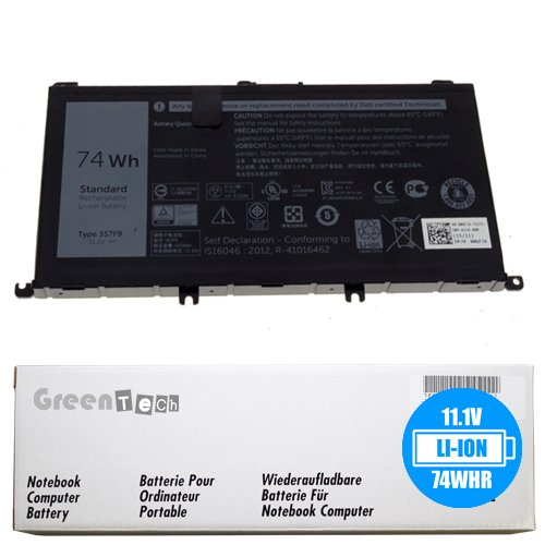 New 357F9 battery for Dell Inspiron 15 7559, Inspiron I7559 - GreenTech 11.1V 74Whr 3-Cell Primary Battery 071JF4 71JF4