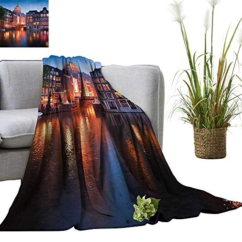 - YOYI Home Fashion Blanket Night Time Illuminatis of The Neo Renaissance St Nicholas Church in Amsterdam Lightweight Blankets for Couch Bed Sofa 35