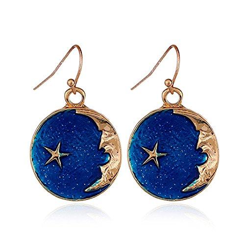 CHOA Asymmetrical Star Moon Earrings - Stylish Handmade Sapphire Star Dangle Earrings For Girls (gold)