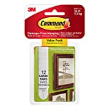 Command 17206-12EF Picture Hanging Strips, Large, White, 12 Pairs