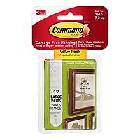 Comandos para colgar cuadros de cuadros, blanco, resistente y versátil, 12 pares (24 tiras), Value Pack (17206-12ES)