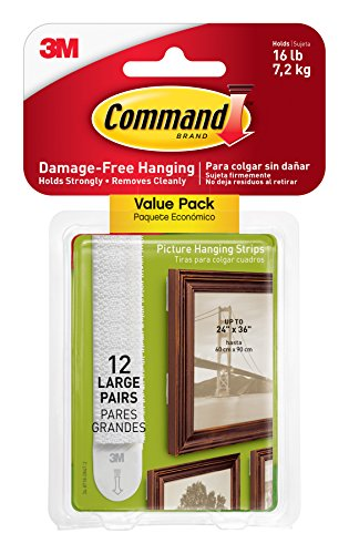 Command Large Picture Frame Hangers, White, Decorate Damage Free, Strong and Versatile, 12 Pairs, (17206-12ES)