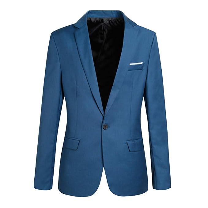 Blazer Uomo Dentellato Lapel Classica Affari Cappotto One-Button Aderente  Elegante Center-Vent Giacca Coat Top Outwear con Tasche  Amazon.it   Abbigliamento c18a2726d62