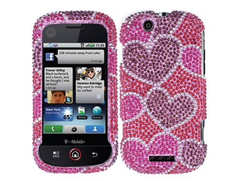 Hearts Pink Bling Rhinestone Diamond Crystal Faceplate Hard Skin Case Cover for Motorola Cliq MB200 ()
