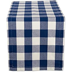 "DII Cotton Buffalo Check Table Runner for Family Dinners or Gatherings, Indoor or Outdoor Parties, & Everyday Use (14x72"", Seats 4-6 People), Navy & Cream"