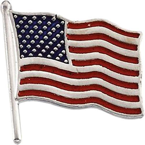 American Gold White 14k Flag - Bonyak Jewelry 14k White Gold 17.5x17 mm American Flag Lapel Pin