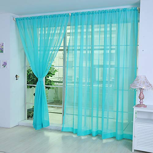 (Tpingfe 1 PCS Pure Color Tulle Door Window Curtain Drape Panel Sheer Scarf Valances (Light Blue))