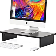 Fitueyes Computer Monitor Riser Wood Desktop Laptop TV Dual Monitor Stand Tabletop Keyboard Organizer Fit Two Screens Office Furniture