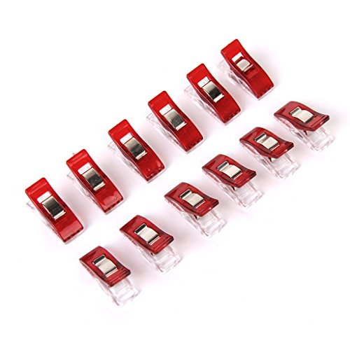 OOOUSE 50pcs Sewing Craft Quilt Binding Clips Clamps Clear and Red