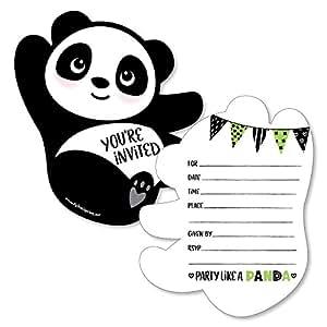 Amazon Com Party Like A Panda Bear Shaped Fill In Invitations