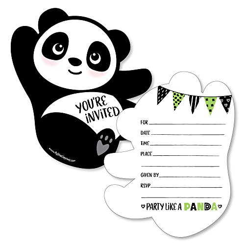 Party Like a Panda Bear - Shaped Fill-In Invitations - Baby Shower or Birthday Party Invitation Cards with Envelopes - Set of 12 ()