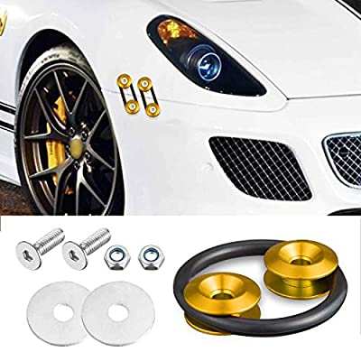 Enmoo 8 Pcs Car Front Rear Bumper Quick Release Fasteners Washers Universal Aluminum Fasteners Washers Bolts Kit for Car Bumpers Trunk Fender Hatch Lids (Gold): Automotive