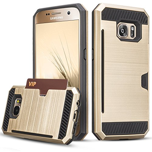 Galaxy S7 Case, TILL(TM) Wallet Case [Card Pocket] Shockproof Dual Protective Shell Rubber Bumper with Card Holder Slot Kickstand Case Cover for Samsung Galaxy S7 S VII G930 GS7 All Carrier [Gold]
