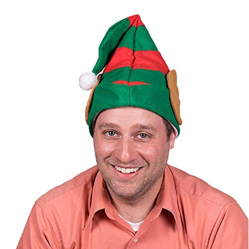 Elf Hat, 2 Pcs Christmas Hat Santan Hat by Funny Party Hats One Size Fits For Kids and Adults