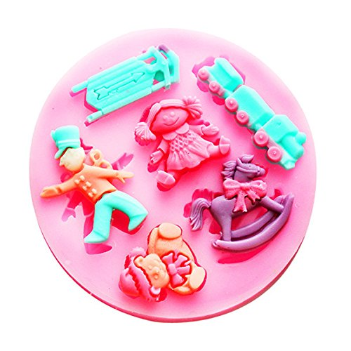 Fondant Mold - Silicone Puppet Soilder Fondant Mold Mould 3d Cake Decoration - Owl Coral The Pearl Frame Lace Pony Butterfly Print Enter -