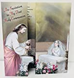 First Holy Communion Girl Praying with Jesus Christ Invitations with Envelopes 8 Count