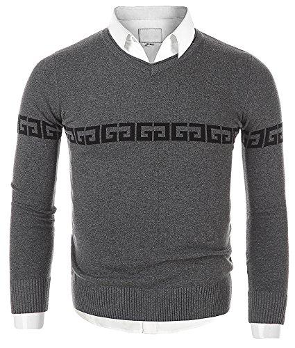 Mocotono Herren Munster Strickpullover Sweatshirt Top V-Ausschnitt aus  Baumwolle: Amazon.de: Bekleidung