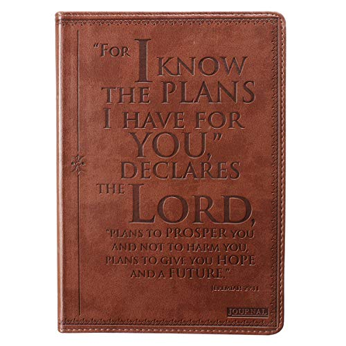 Christian Art Gifts Brown Faux Leather Journal | I Know The Plans Jeremiah 29:11 Bible Verse | Flexcover Inspirational Notebook w/Ribbon Marker and Lined Pages, 6 x 8.5 Inches Paperback – July 1, 2008