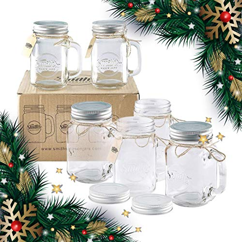 x 16oz Mason Jar Mugs with Lids, Great Mason Jar Old Fashioned Glasses ()