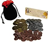 Viticulture Metal Coins Game Enhancement || 72 Coins in Various Denominations || Bonus Black Velvet/Red Satin Lined Drawstring Pouch || Bundled Items
