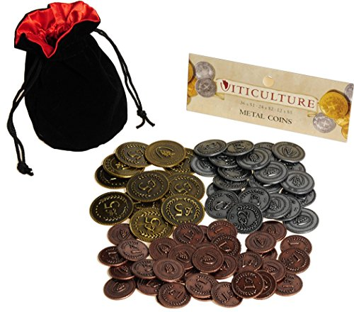 Viticulture Metal Coins Game Enhancement    72 Coins in Various Denominations    Bonus Black Velvet/Red Satin Lined Drawstring Pouch    Bundled Items by Deluxe Games and Puzzles
