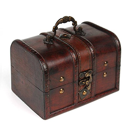 Charminer Big Size Vintage Wood Lock Jewelry Storage Box Necklace Treasure Storage Organizer Holder