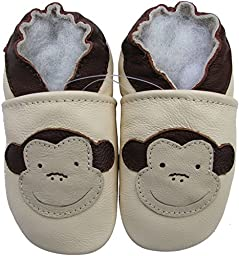 Carozoo Baby Boys\' Monkey Soft Sole Leather Shoes cream (3-4 years)