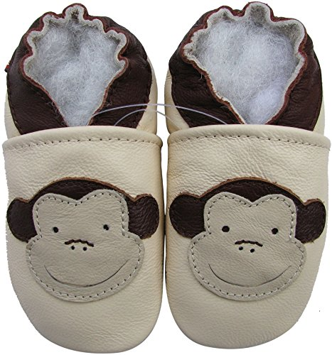 Soft Soles Monkey - Carozoo Baby Boys' Monkey Soft Sole Leather Shoes cream (4-5 years)