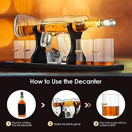 KKTECT Juego de Decantador de whisky con piedra de hielo, juego de 4 tazas de cristal y 1 taza de piedra de whisky en soporte de madera clásico para vino, brandy, bourbon, escocés