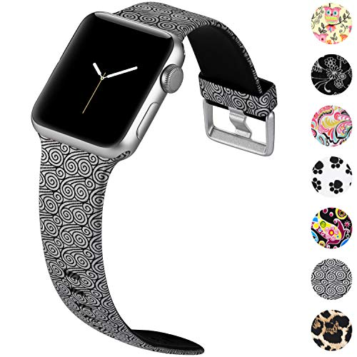 KOLEK Floral Band Compatible with Apple Watch 38mm 40mm Series 4 3 2 1, Waterproof Sweat-Proof Sport Wristbands for iWatch, Lucky Cloud, M/L