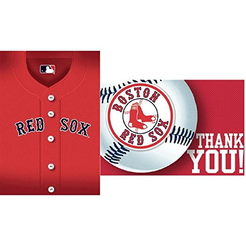 Amscan MLB Boston Red Sox Party Postcard Invitation & Thank You Cards (16 Pack), Red, 7.6 x 5