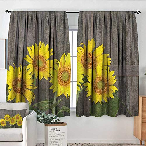 Theresa Dewey Blackout Curtains 2 Panels Sunflower,Helianthus Sunflowers Against Weathered Aged Fence Summer Garden Photo, Brown Yellow Green,Rod Pocket Curtain Panels for Bedroom & Kitchen 42