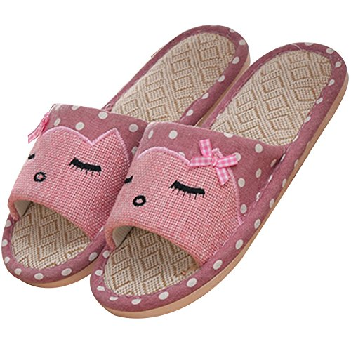 Aksautoparts Unisex Couples Summer Cartoon Skid-proof Flax House Home Slipper Pink FuSW9