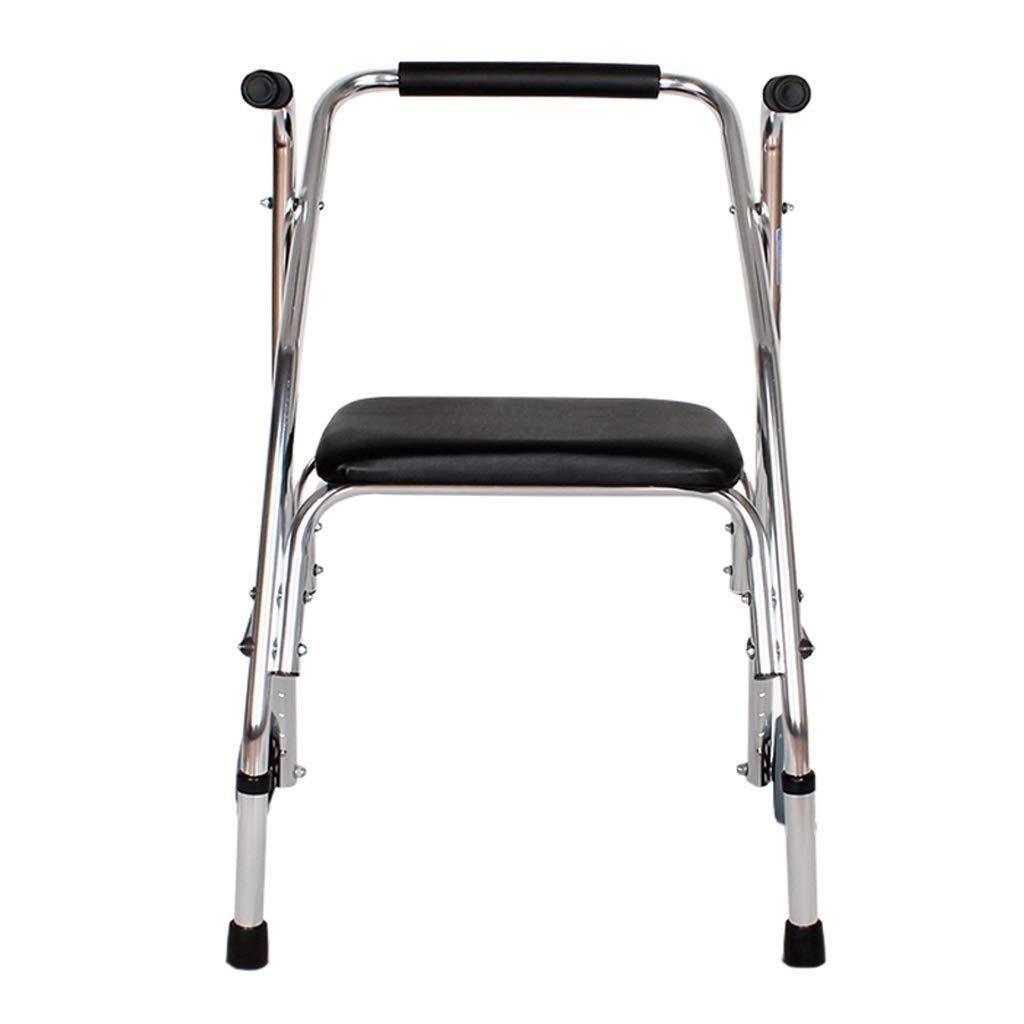 YFQ Standard Walker Foldable Walker Four-Wheel Walker with Seat Rehabilitation Assisted Walking Frame Shopping Cart Adjustable Easy to Carry