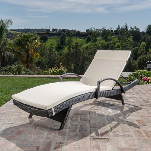 Christopher Knight Home 296779 Salem Outdoor Wicker Chaise Lounge Chair with Arms with Cushion, - Palm Springs Wicker