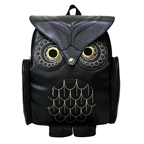 (Women Girls Pu Leather Owl Cartoon Backpack Fashion Casual Satchel School Purse for Children/Students Black)