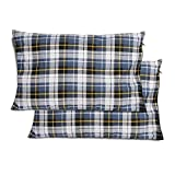 REDCAMP 2 Pack Outdoor Camping Pillow Lightweight, Flannel Travel Pillow Cases, Removable Pillow Cover