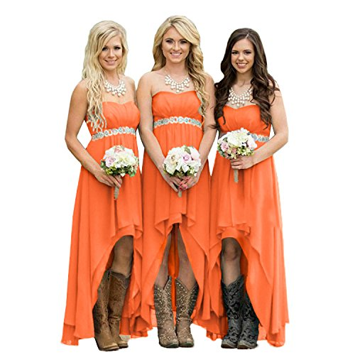 (Fanciest Women' Strapless High Low Bridesmaid Dresses Wedding Party Gowns Orange US6 )