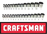 Craftsman 28 Piece SAE Standard & Metric 3/8'' Drive 12 Point Shallow Laser Etched Easy Read Socket Set