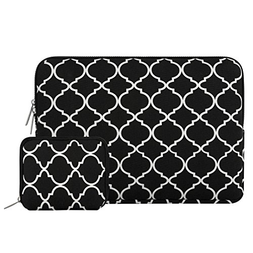 MOSISO Laptop Sleeve Bag Compatible 13-13.3 Inch MacBook Pro, MacBook Air, Notebook with Small Case, Quatrefoil Style Canvas Fabric Protective Carrying Cover, Black