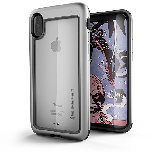 e, Atomic Slim Series - Military Grade Drop Tested, Metal Aluminum Alloy Bumper + TPU & Rubber Protective Case for Apple iPhone X 2017 | Silver (Case Silver Bullet)