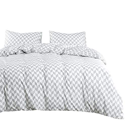 Wake In Cloud - Gray Chevron Comforter Set, 100% Cotton Fabric with Soft Microfiber Fill Bedding, Zig Zag Geometric Pattern Printed in Grey White (3pcs, King Size) (Chevron Size Comforter King)