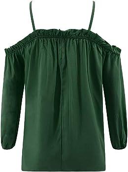 Greetuny 1pcs Camisas Mujer Manga Larga Off Shoulder Blusa Suelto Mujer Verano 2019 Casual Elegantes Tops Mujer Fiesta Verde S: Amazon.es: Ropa y accesorios