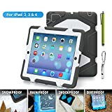 iPad Cases,iPad 2 Case,iPad 3 Case,iPad 4 Case,TRAVELLOR[Heavy Duty] iPad Case,Three Layer Armor Defender And Full Body Protective Case Cover With Kickstand And Screen Protector for iPad 2/3/4 - Gray/White