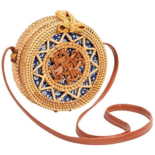 Handwoven Round Rattan Bag for Women Lefur Handmade Shoulder Straw Bag Crossbody Purse with Handles Hollow-Carved