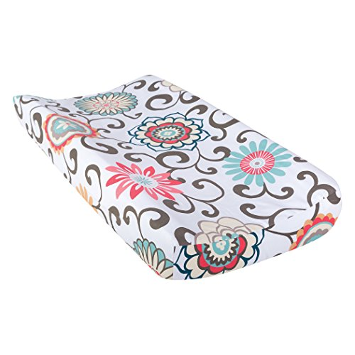 Trend Lab Waverly Baby Pom Pom Play Changing Pad Cover, Coral/Teal/Yellow from Trend Lab