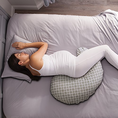 Boppy Pregnancy Support Pillow with Jersey Slipcover, Petite Trellis, Gray by Boppy (Image #7)