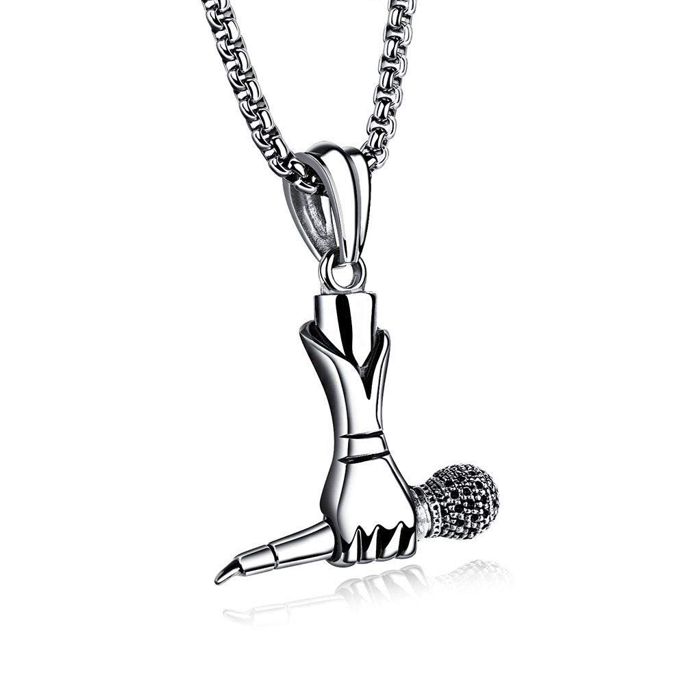 Punk Hand-Held Microphone Creative Pendant Necklace Men Jewelry Necklet Choker