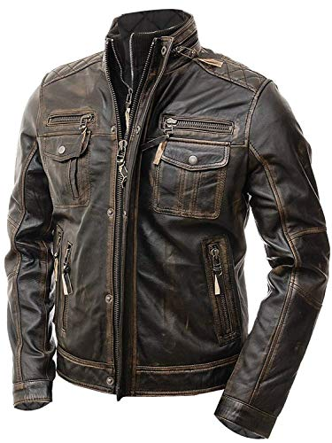 Abbraci Boys Motorcycle Real Leather Biker Style Jacket for Kids (11-12 Years, Brown) -